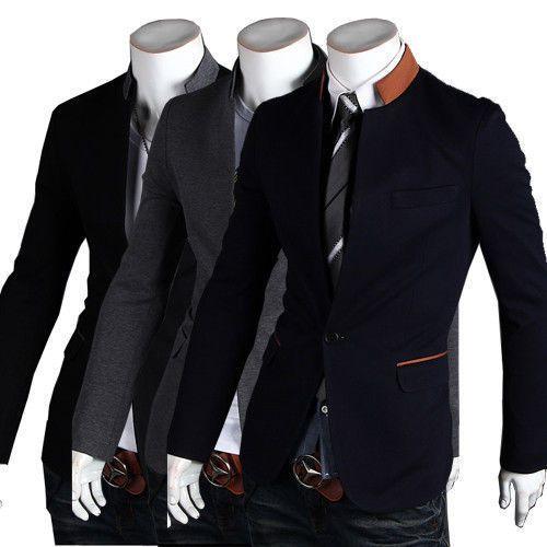 Marca de moda de los hombres traje chaqueta de la capa un botón del collar del soporte formal blazer slim fit Chaquetas Outwear 3 colores