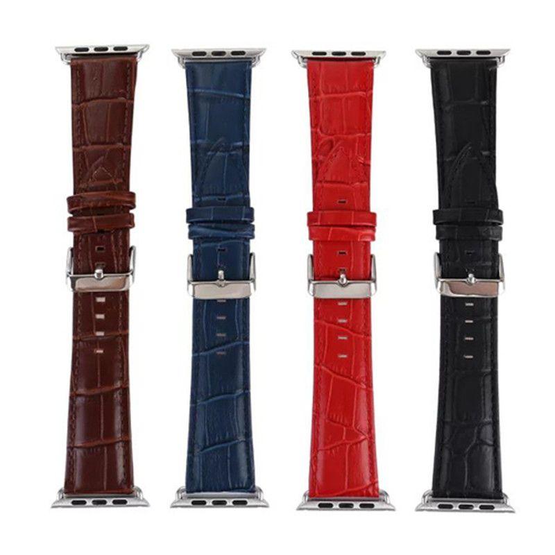 Véritable Cuir Crocodile Motif Remplacement Sangle Pour Apple Montre 38 MM 42 MM Bracelets Bracelet Pour iWatch Série 1, série 2