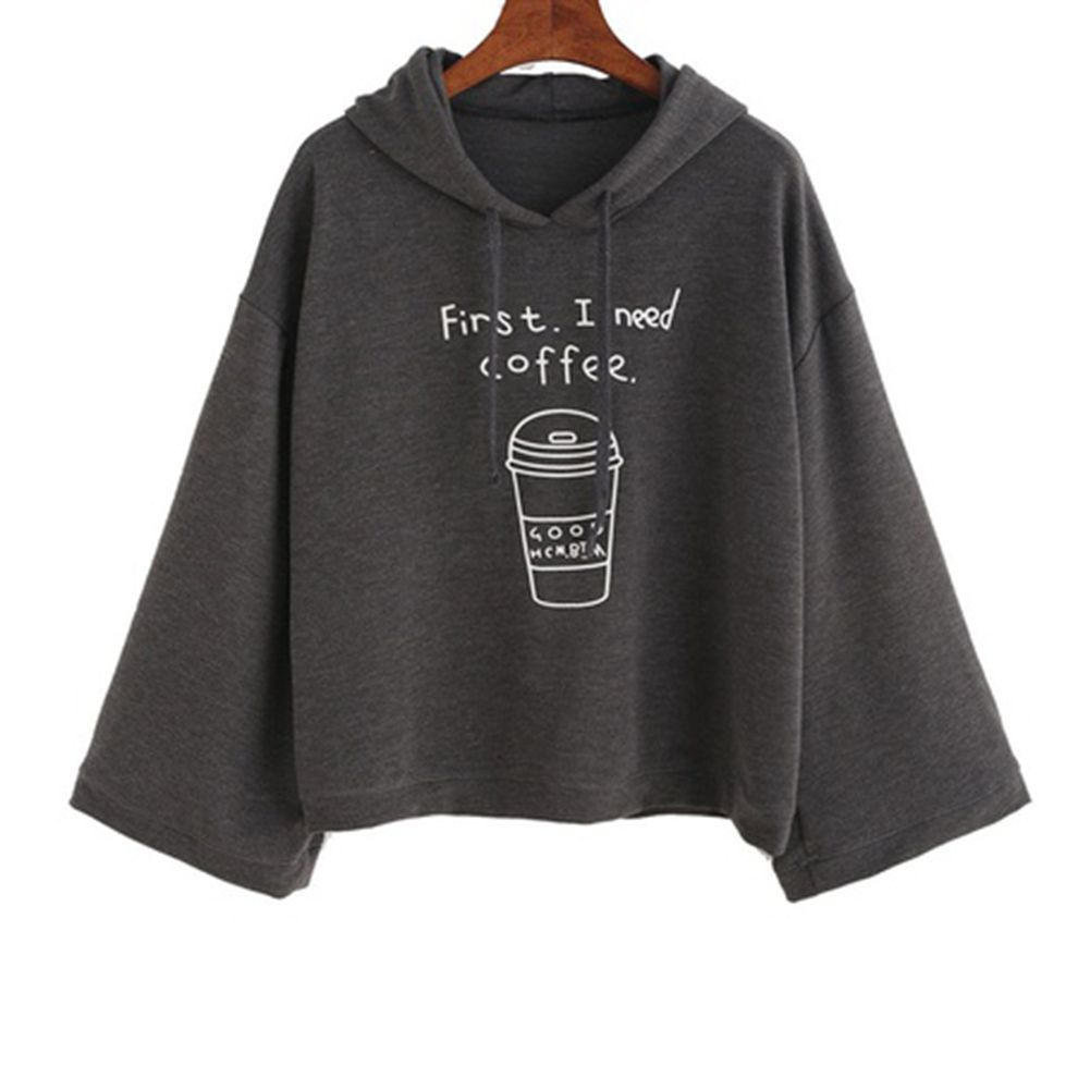 Autumn Women Fashion Letter Print First I Need Coffee Hoodies Women Long Sleeve Casual Cropped Sweatshirt Pullover