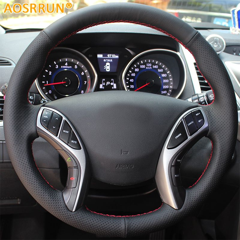 AOSRRUN Leather Hand-stitched Car Steering <font><b>Wheel</b></font> Covers For Hyundai Elantra 2011-2016 Avante i30 2012-2016 Car accessories