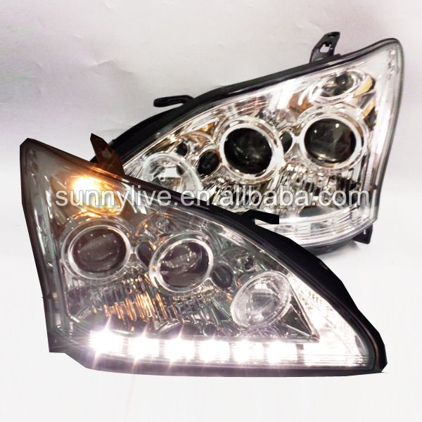 For TY Herrier Kluger Head Lamp for Lexus RX330 RX300 R350 Angel Eyes 2003 to 2009 SN chrome Housing