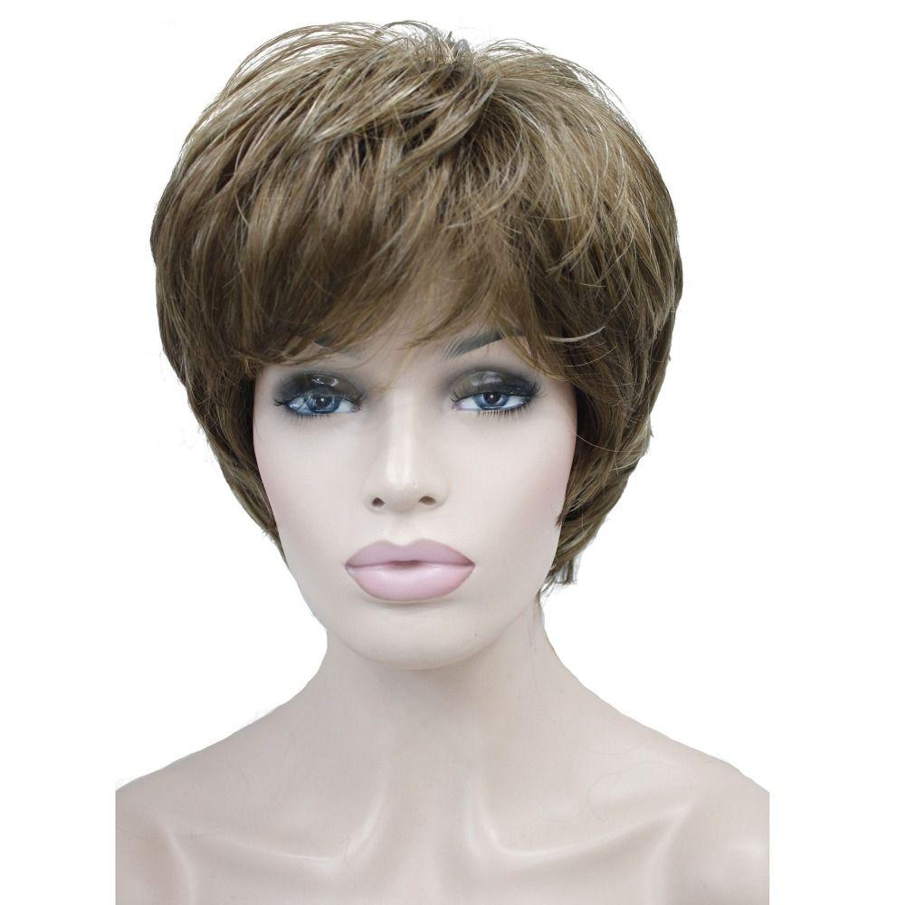 StrongBeauty Femmes de Perruques Naturelles Moelleux Cendres Blonde Droites Courtes Cheveux Synthétiques Pleine Perruque 7 Couleur