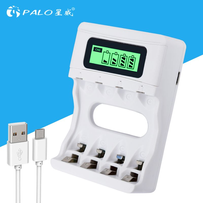 HOT! Intelligent 4 Slots Intelligent LCD Chargeur de Batterie Rechargeable USB Chargeur Pour AA/AAA NiCd NiMh Rechargeable Batteries