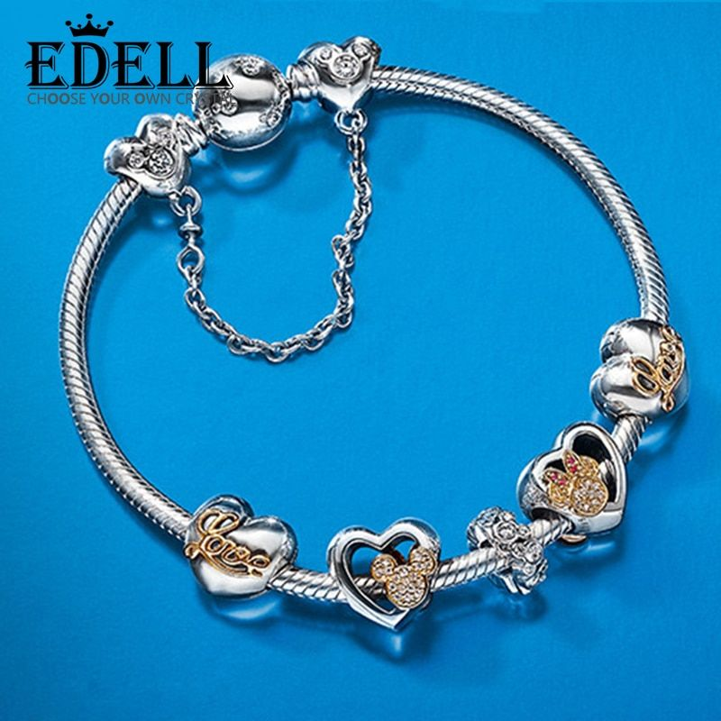 EDELL Hot Sell European Style Silver Crystal Charm Bracelet for Women Murano Glass Beads Jewelry Sterling Silver Guarantee