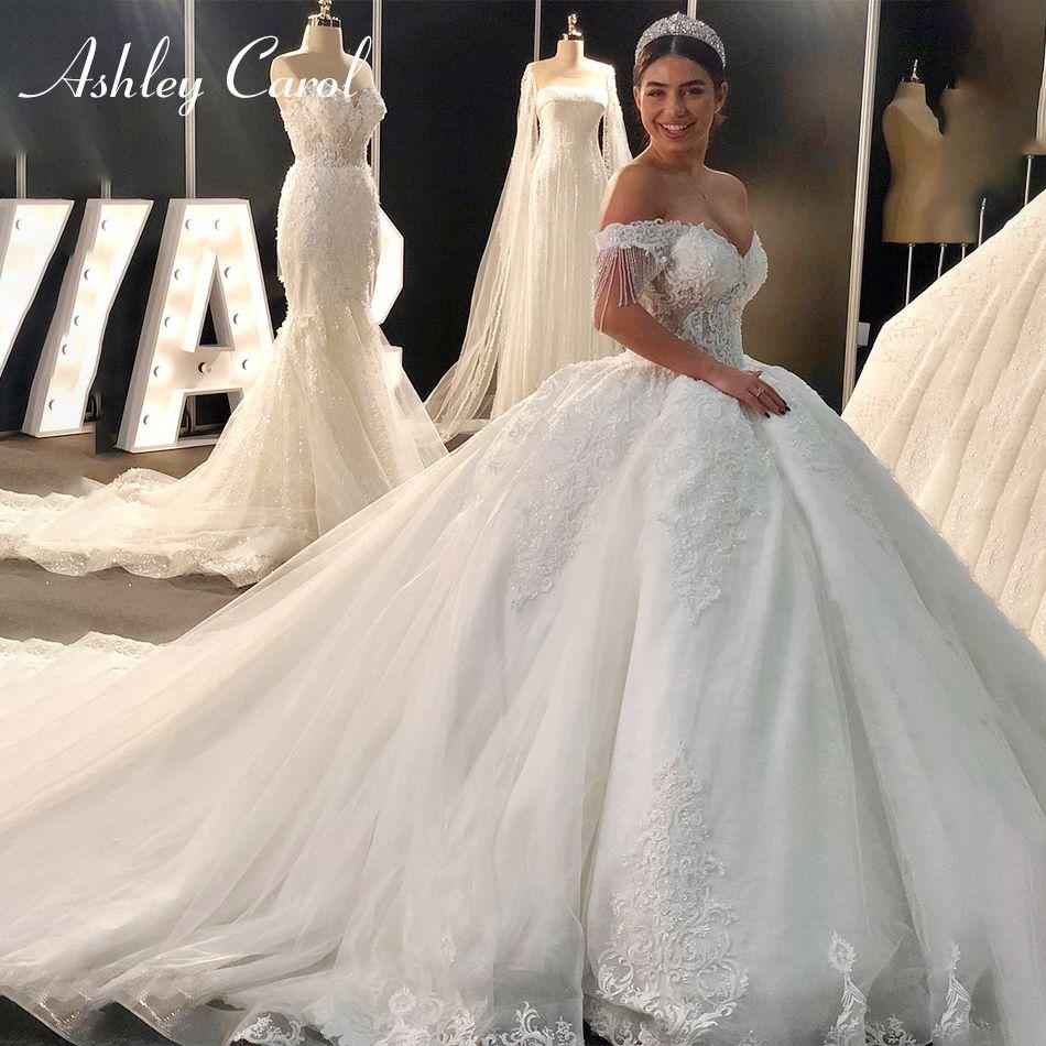 Ashley Carol Sexy Schatz Königlichen Zug Ballkleid Hochzeit Kleid 2019 Luxus Perlen Cap Sleeve Lace Up Prinzessin Hochzeit Kleider