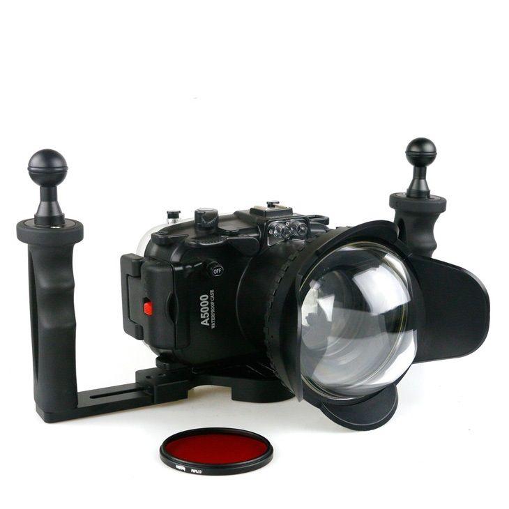 40 mt (130ft) tauchen wasserdichte unterwassergehäuse für sony a5000 digital slr kamera 67mm fishey objektiv kamera gehäuse tablett