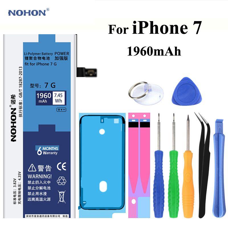 Original NOHON Batterie für Apple iPhone 7 4,7 zoll Reale Kapazität 1960 mAh Ersatz handy Bateria Mit Kostenlose Reparatur werkzeuge