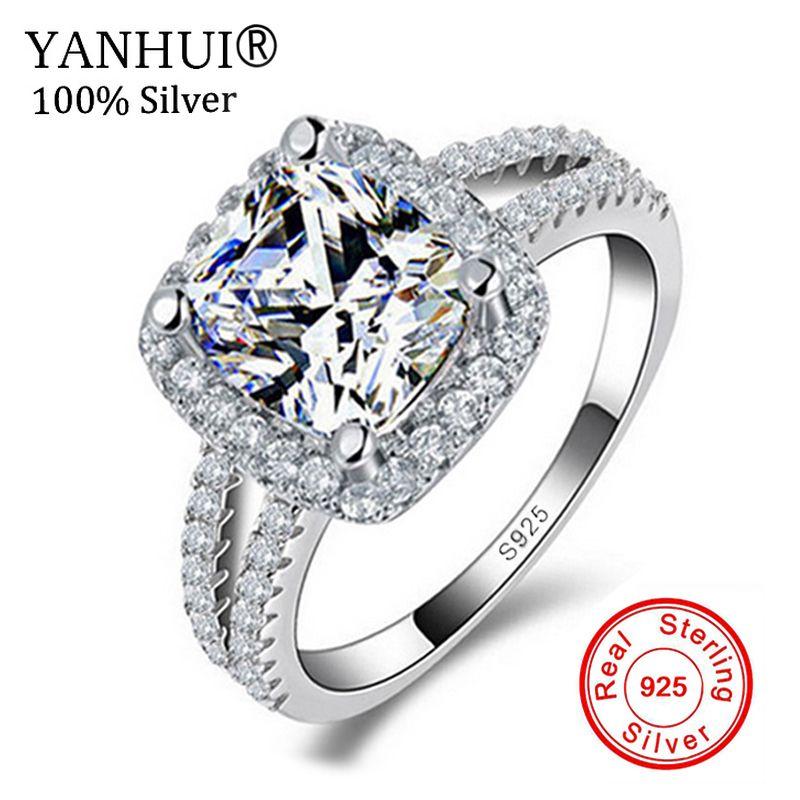 Grande Promotion!!! Bijoux fins 100% réel 925 bague en argent Sterling 3 carats CZ Diamant bagues de fiançailles pour les femmes JZR066