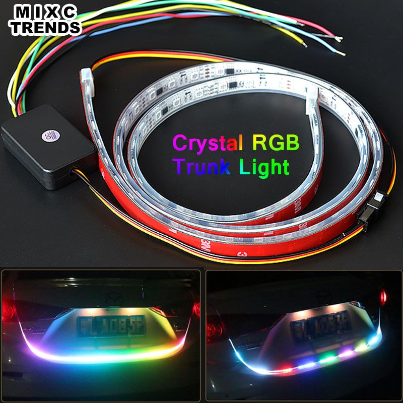 Mixctrneds Новый 120 см кристалл кремния рукав 5050 RGB LED автомобиля сзади хвост Магистральные свет тормоз включить сигнал обратного светодиодный св...