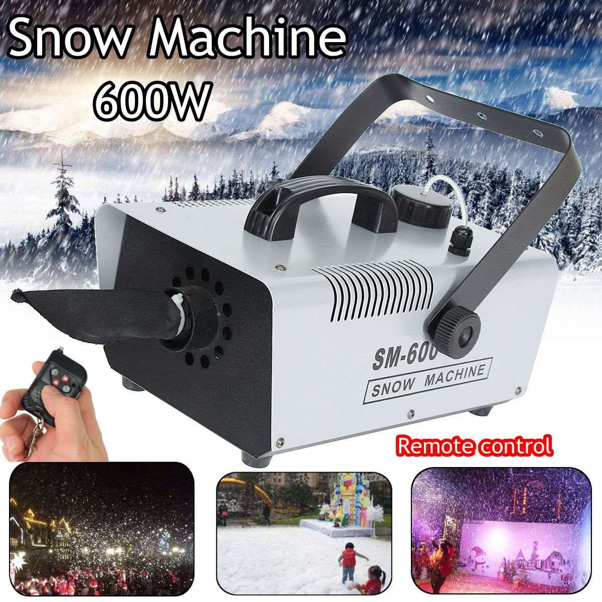 110V/220V Snow 600W Pack Snow Machine Effect with 1.5L Snow Fluid & Wireless Remote