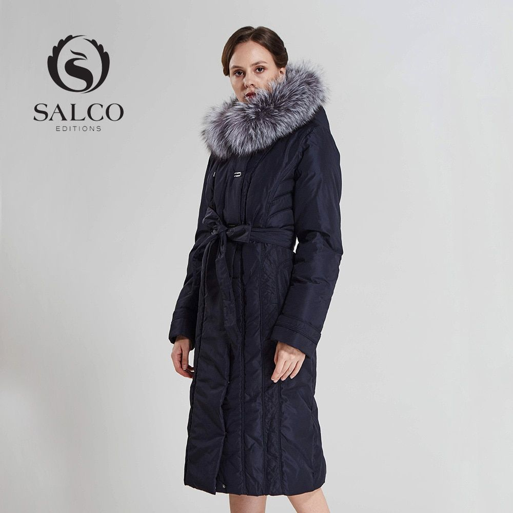 SALCO In 2016 the new women's wear to keep warm long pearl cotton-padded jacket Ms removable silver fox fur collar jacket