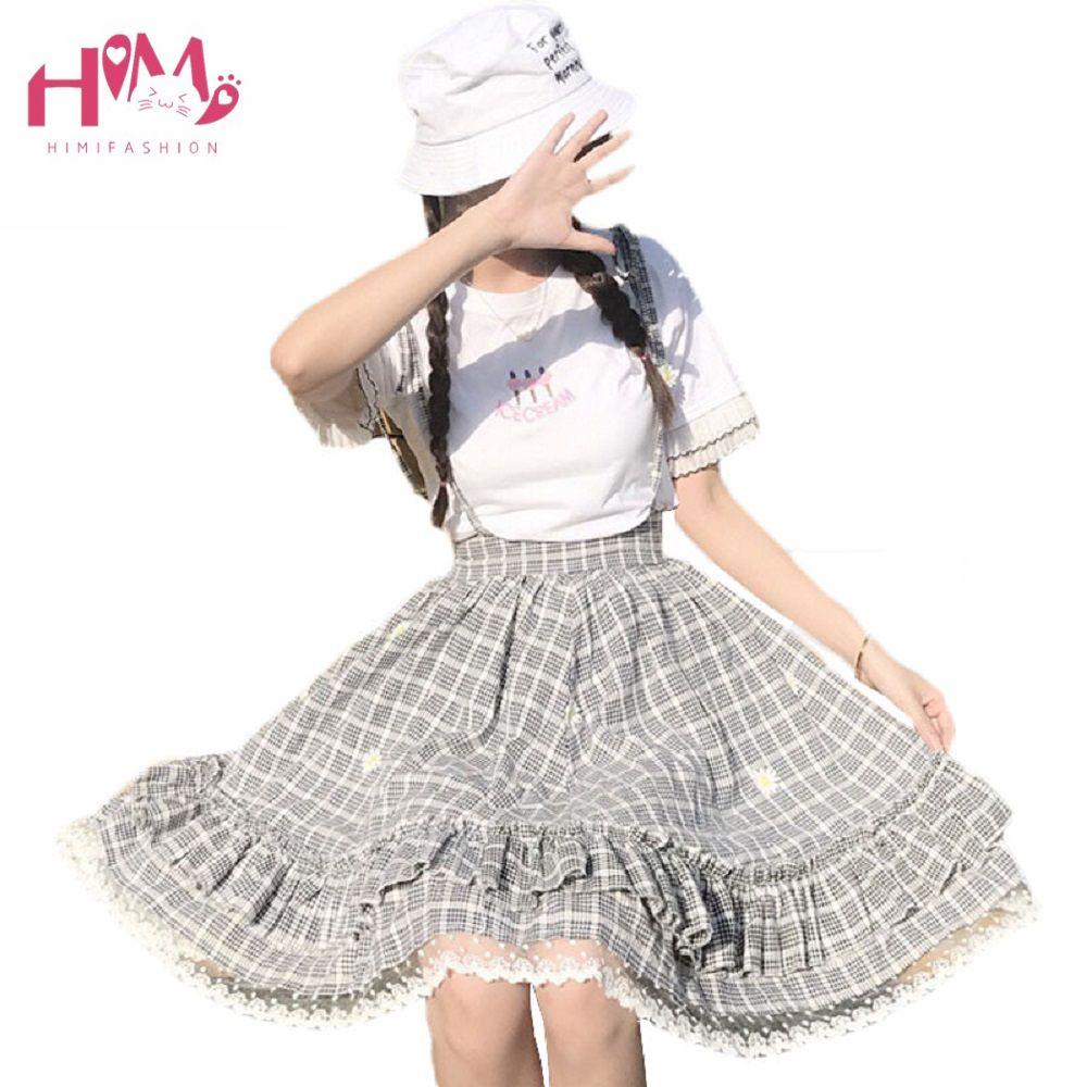 L'uniforme scolaire japonais Original gothique Lolita rayures dorées manches volantes douce soeur taille corps robe avec bretelles