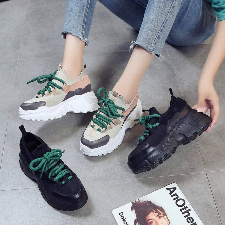 Super thick bottom female autumn new 2018 wild Korean version of the pine cake ugly shoes increased old shoes women 8cm.