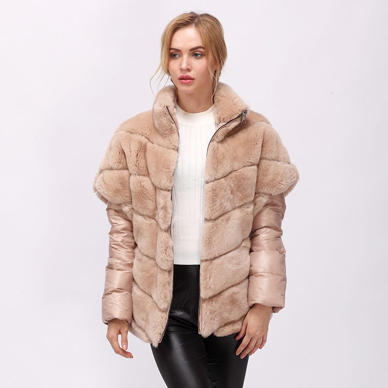 CNEGOVIK Short real rabbit fur jacket women fur real coat rex rabbit real fur coat