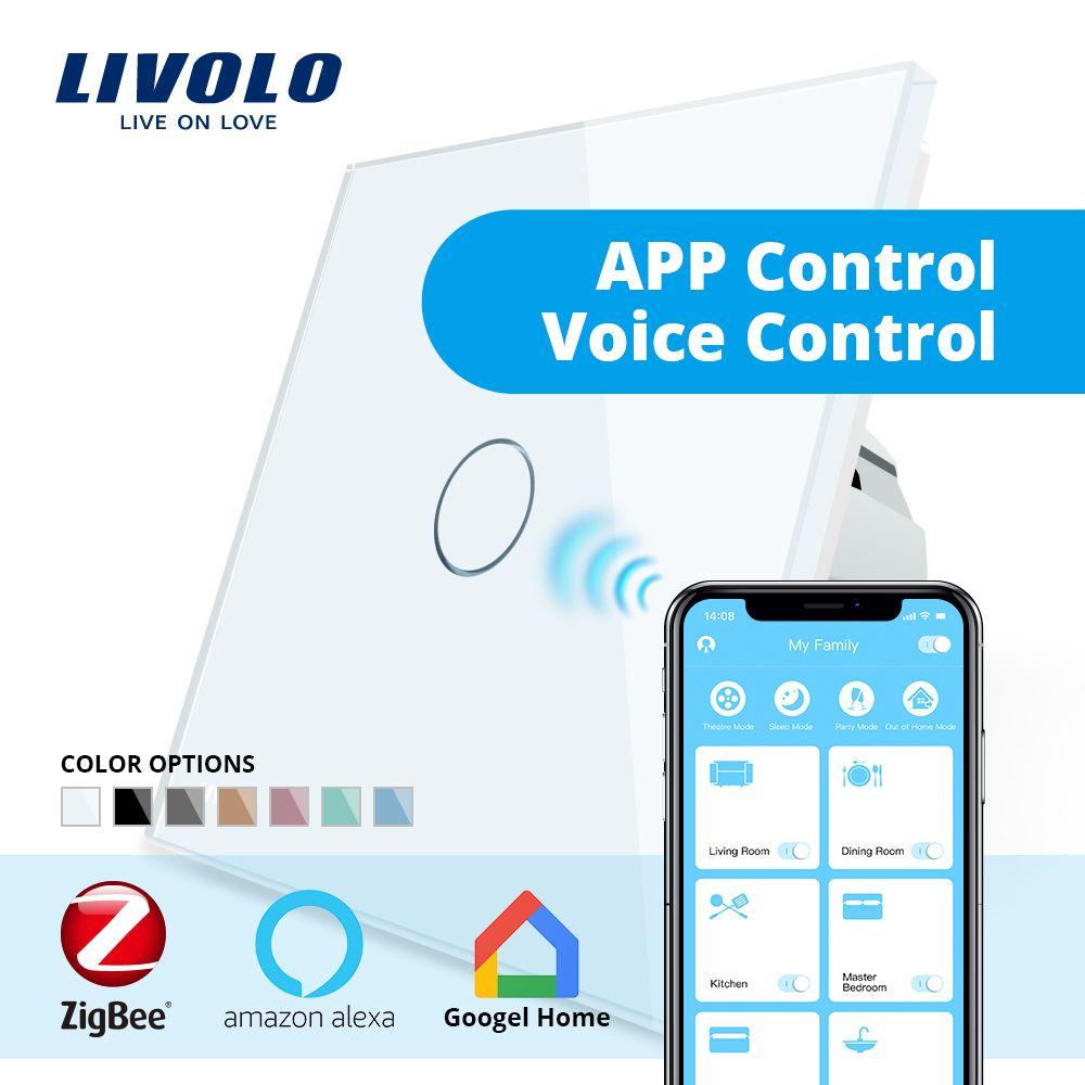 Commutateur tactile intelligent de mur de maison intelligente de Zigbee de norme de l'ue de Livolo, contrôle d'application de WiFi de contact, contrôle à la maison de google, Alexa, contrôle d'écho