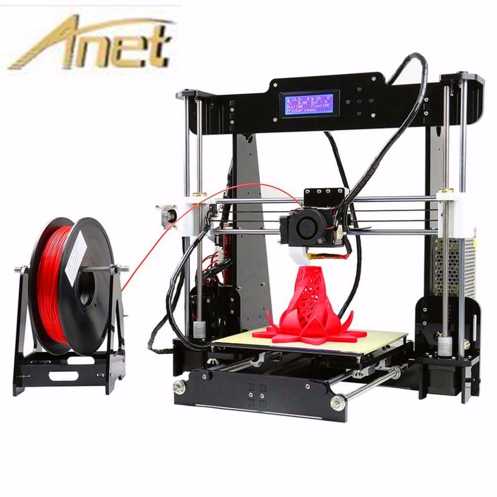 2017 Mise À Niveau mise à niveau Automatique Prusa i3 3D Imprimante kit diy Anet A8 3d imprimante avec Aluminium Foyer Livraison 10 m Filament 8 GB carte LCD