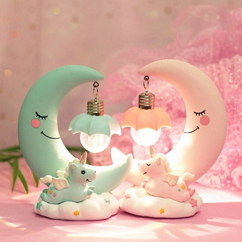 LED Night Light Unicorn Moon Resin Cartoon Night Lamp Luminaria Romantic Bedroom Decor Night Lamp Baby Kids Birthday Xmas Gift