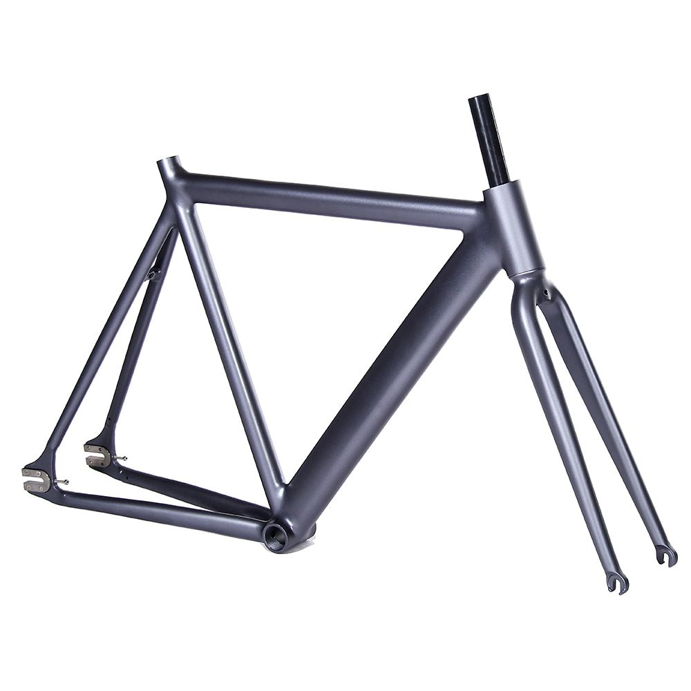 700C bike frame 54cm matte black Smooth Welding Track Bike frame Fixed Gear Bicycle Frame Aluminum Alloy frame steel fork