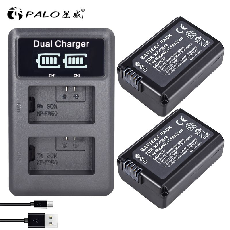 2pcs 2000mAh NP-FW50 NP FW50 Batteries for Camera + LCD Dual USB Charger for Sony Alpha A6500 A6300 A6000 A5000 A3000 Nex-3 a7r
