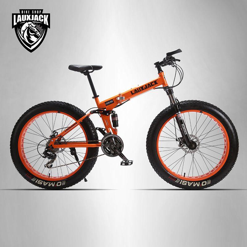 LAUXJACK Mountain Fat Bike Full Suspension Steel Foldable Frame 24 Speed Shimano Mechanic Brake 26x4.0 Wheel