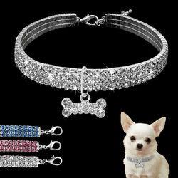 Bling rhinestone cristalino del collar de perro Chihuahua perro Collares correa para pequeño mediano Perros mascotas Accesorios S M l rosa