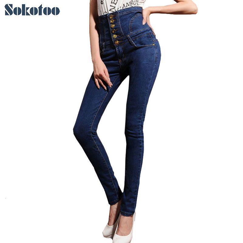 Sokotoo mujeres invierno fleece cálido o sin forro pantalones vaqueros de cintura alta Plus de gran tamaño con cordones botones flacos elásticos lápiz pantalones de mezclilla