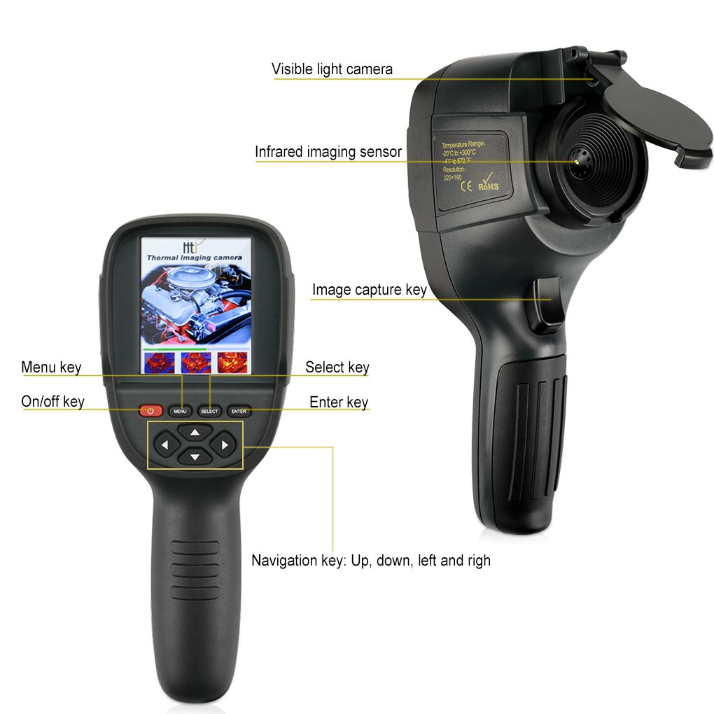 Digital Thermal Imager HT-18 Handheld IR Detector Camera Infrared Temperature Heat with storage match Seek/FLIR Thermal