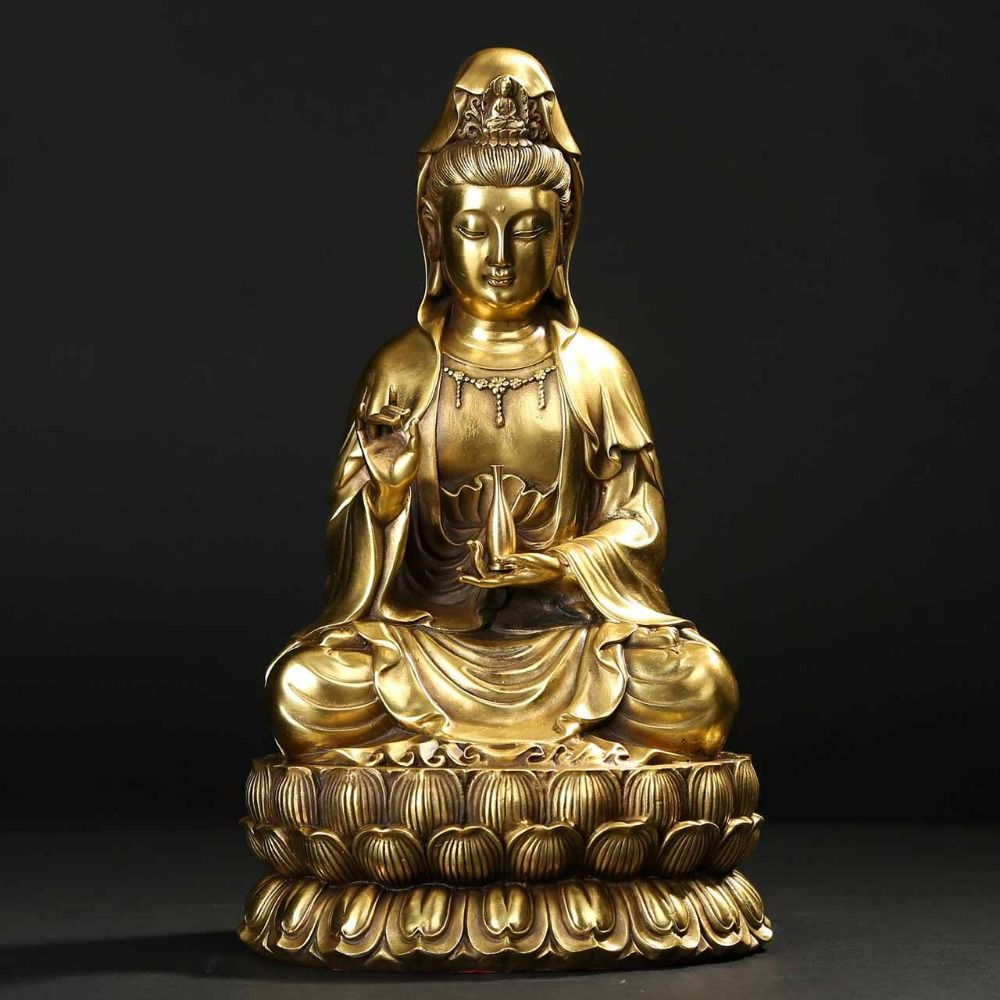 Pure copper Guanyin Buddha ornaments at net paint concept of God to send music to protect the home decoration sculpture
