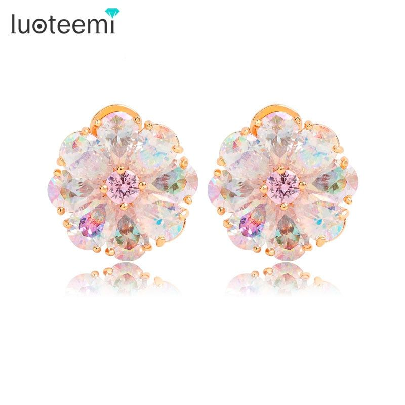 LUOTEEMI Hot Selling Fashion Stud Earrings Shining Rainbow CZ Ear Clips for Women Party Jewelry Accessories Elegant Brincos