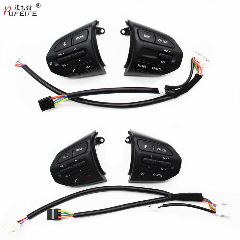PUFEITE Steering Wheel Button For KIA K2 RIO 2017 2018 RIO X LINE Buttons Bluetooth Phone Cruise Control Volume Switch