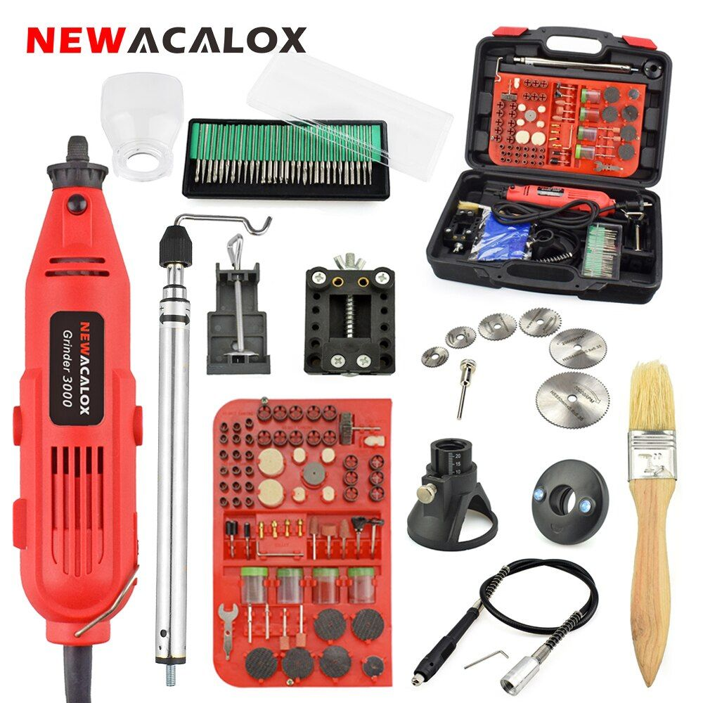 NEWACALOX 220V 260W Power Tool Mini Electric Drill Variable Speed Rotary Tool Grinder Machine Set Dremel Accessories Carry Case