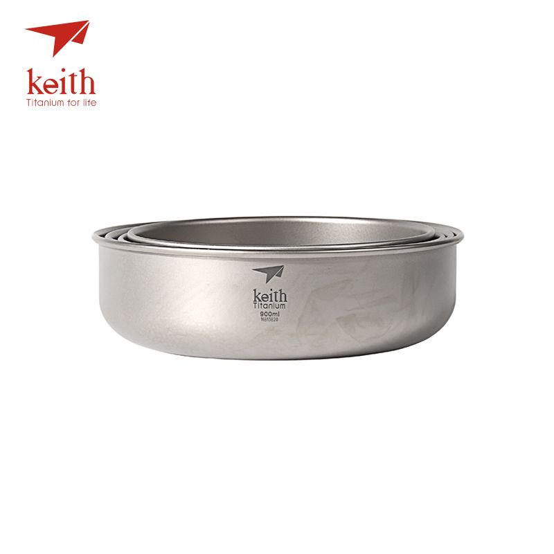 Keith 4 Pcs In 1 Titanium Bowl Ultralight Camping Travel Tableware Single Wall Pure Titanium Bowls Picnic 600ml-900ml Ti5376