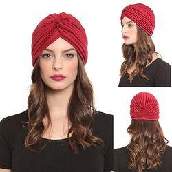 2017 Nouveau Femmes Extensible Chapeau Turban Head Wrap Bande Chimio Bandana Hijab Plissé Cap Indien