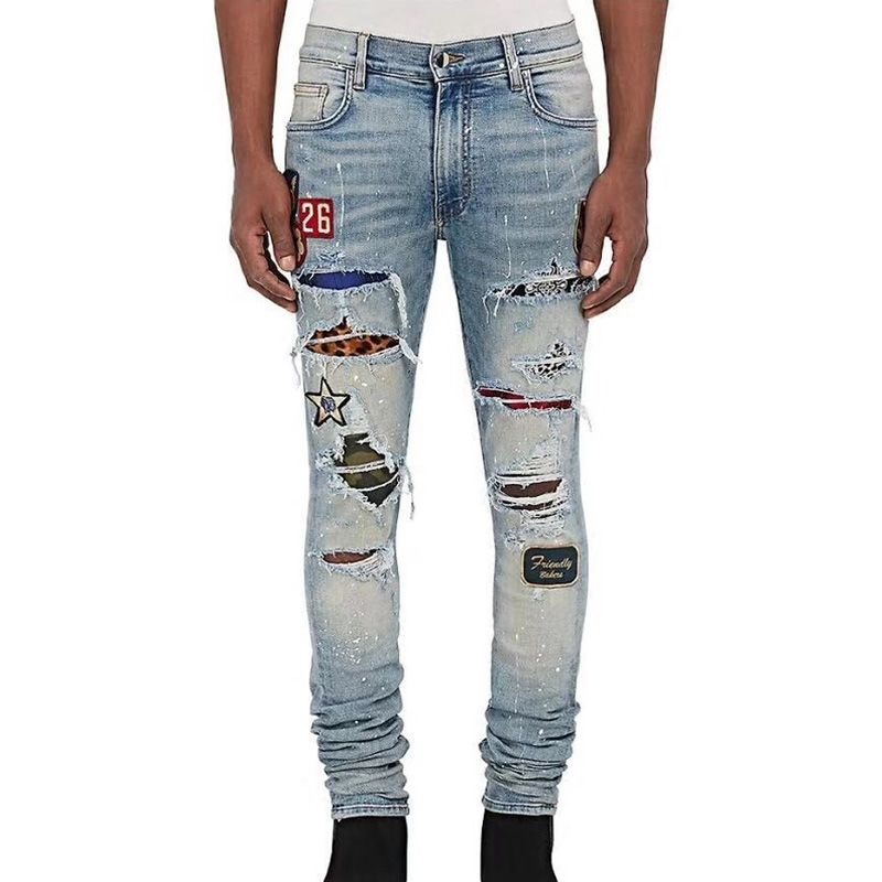 Top Quality High Street Fashion Brand Men Jeans Slim Fit Blue Color Ripped Jeans Men Pants Patchwork Punk Biker Jeans Homme