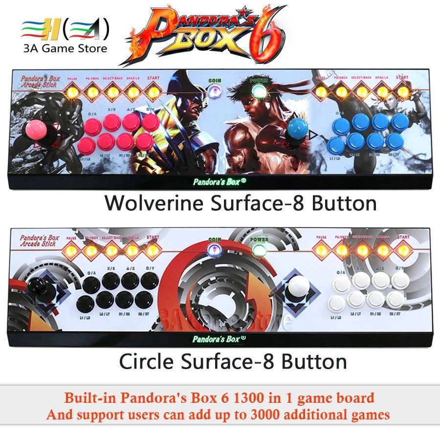 Pandora Box 6 1300 in 1 8 taste Familie 2 spieler joystick arcade konsole unterstützung hinzufügen FBA MAME PS1 spiel kann hinzufügen bis zu 3000 spiele