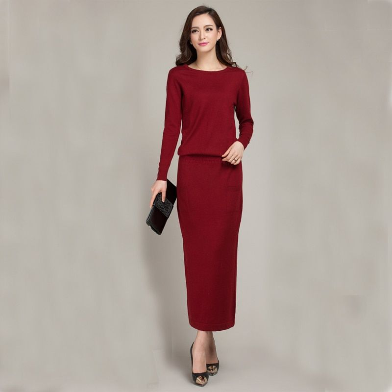 2018 New Spring and Autumn Female Round neck Floor-length Cashmere Sweater One-piece Dress Casual Solid Knitting Women Dress