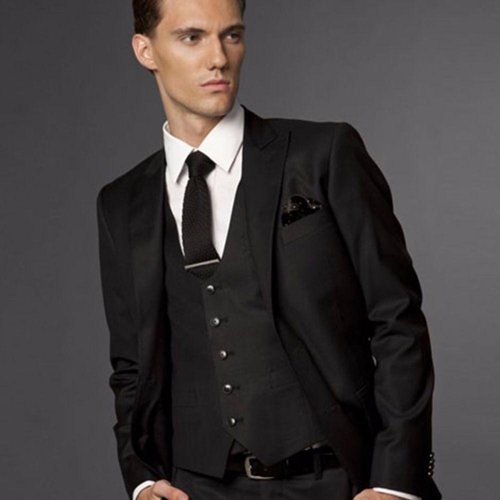 Black Wedding Suits For Men, Black Groom Suit, Custom Made Wedding Tuxedos For Men,Bespoke Men Suit Costume Homme Terno Noivo