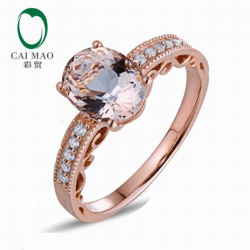 CaiMao 18KT/750 Rose Gold 1.68 ct Natural Morganite & 0.10ct Round Cut Diamond Engagement Gemstone Ring Jewelry