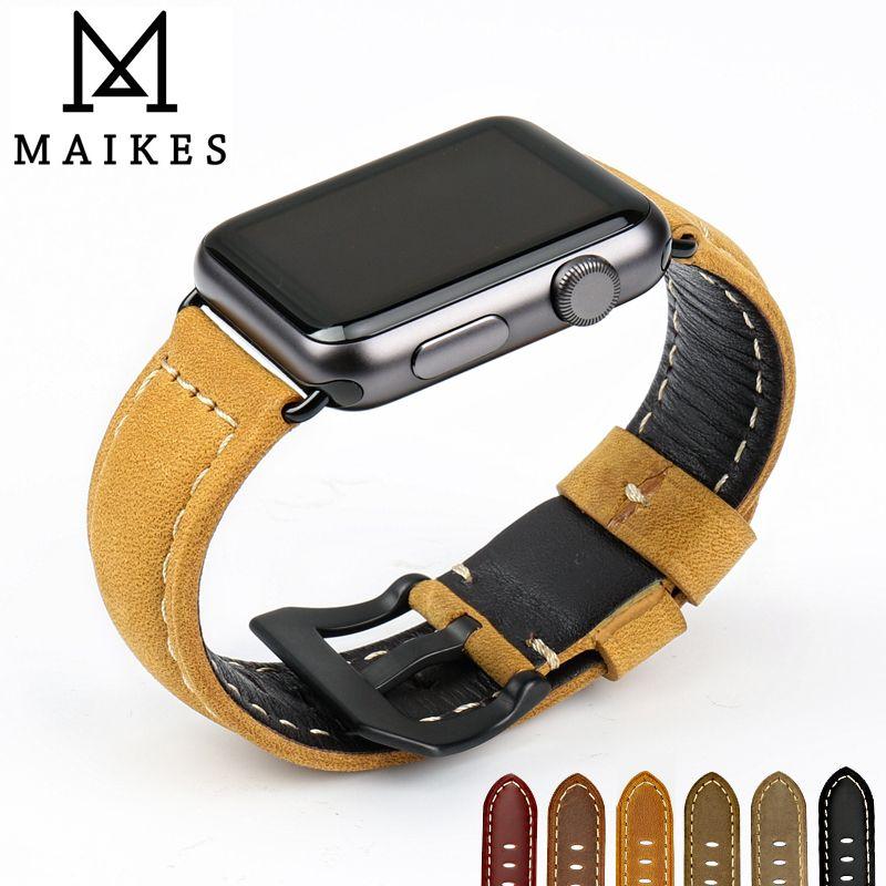 MAIKES véritable en cuir 44mm 40mm Pour apple watch bracelet montre bracelet pour apple watch bandes 42mm 38mm iwatch série 4 3 2 1