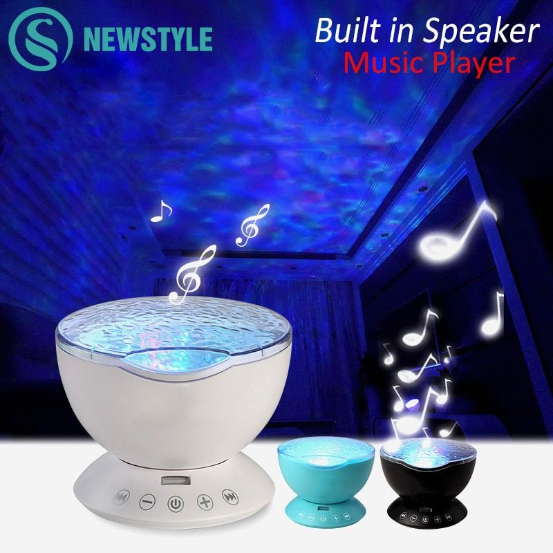 7Colors LED Night Light Starry Sky Remote Control Ocean Wave Projector with <font><b>Mini</b></font> Music Novelty baby lamp night lamp for kids