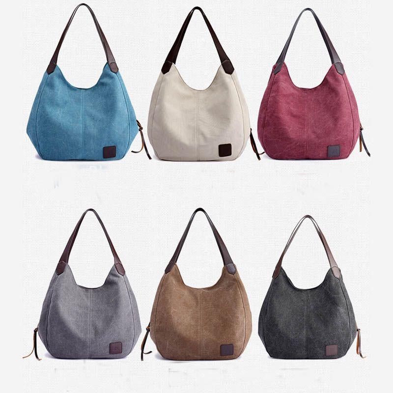 Women's Canvas Handbags High Quality <font><b>Female</b></font> Hobos Single Shoulder Bags Vintage Solid Multi-pocket Ladies Totes Bolsas