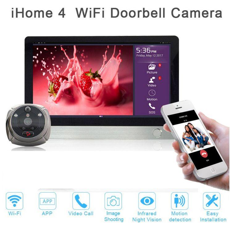 Новые двери просмотра ihome4 для квартиры безопасности, ночное видение беспроводной дверной звонок камеры видео-телефон двери Супер длительн...