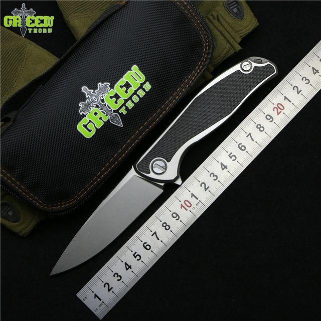 Green thorn 95 Flipper folding knife M390 blade TC4 Titanium CF 3D handle outdoor camping hunting pocket fruit Knives EDC tools