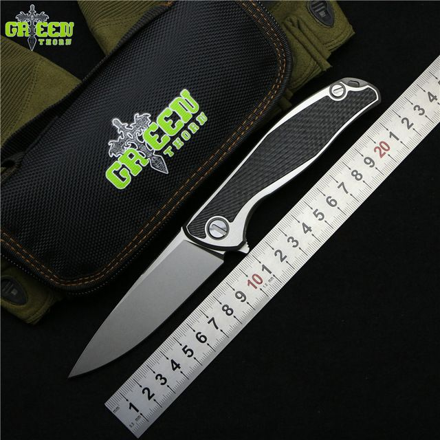 Green thorn 95 Flipper folding knife M390 blade TC4 Titanium CF 3D handle outdoor camping hunting pocket fruit Knives EDC tools
