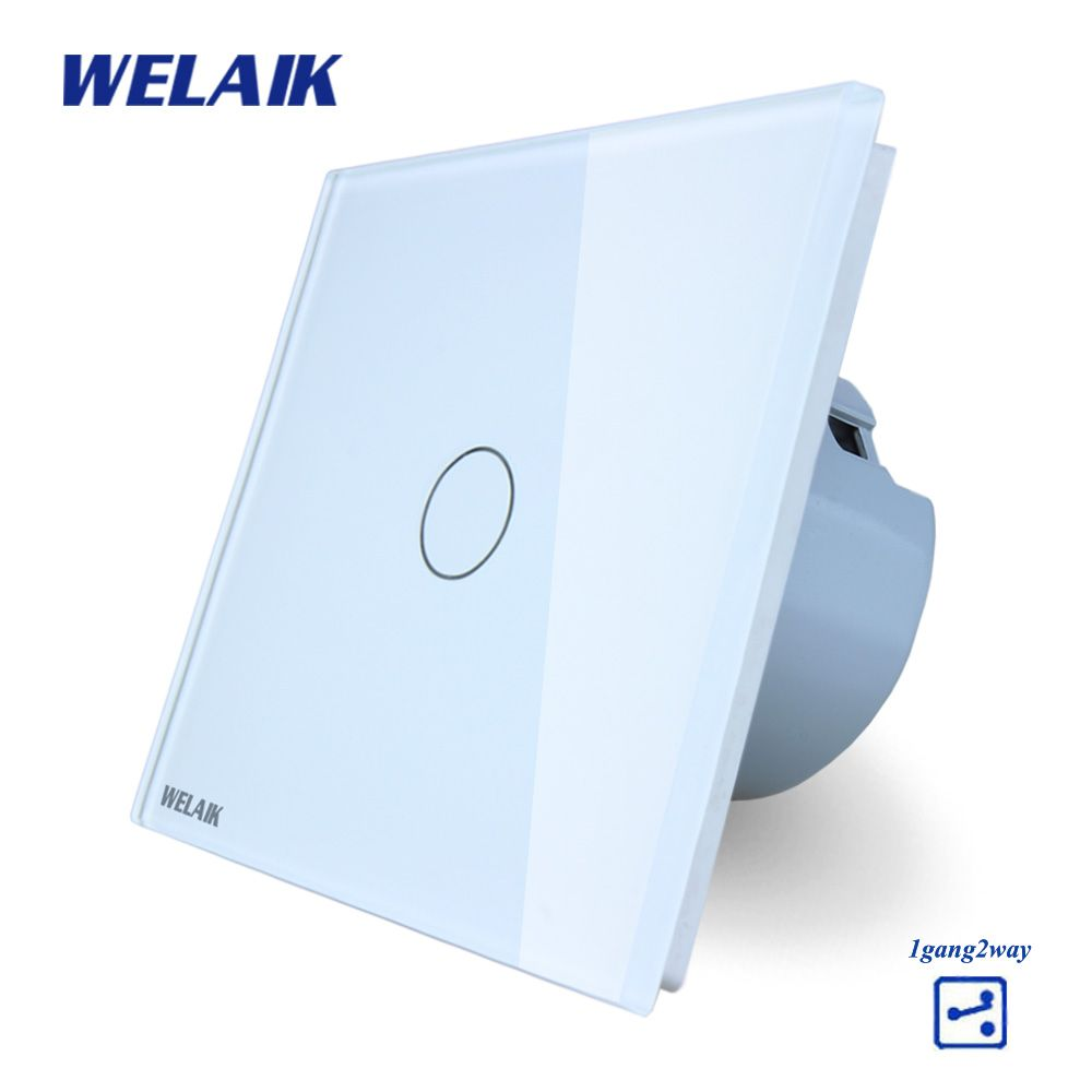 WELAIK Crystal Glass Panel Switch White Wall Switch EU Touch Switch Screen Wall Light Switch 1gang2way AC110~250V A1912CW/B