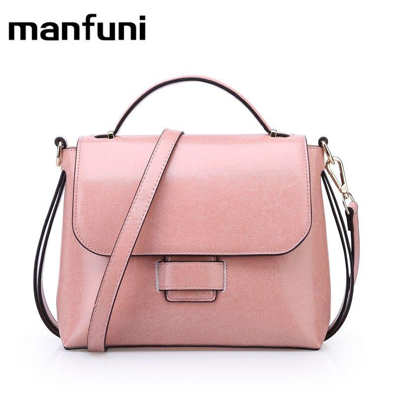 MANFUNI women Genuine Leather handbags Cowhide Bag Gift Female Crossbody Shoulder Bags Vintage oil wax handbag bolso mujer 0865