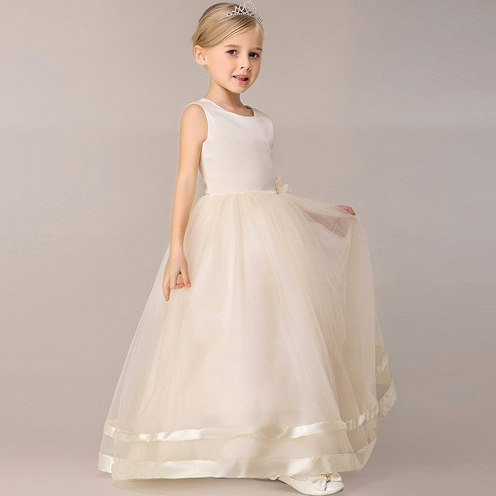 Niña de las Flores Vestido de Fiesta de Los Niños Sin Mangas Ropa de Chica de La Boda Vestidos de Bola de Baile Vestidos de Primera Comunión para Niñas