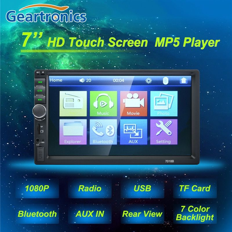 2 Double Din 7018B Car MP5 Player 7 Inch Touch Screen Auto Car MP4 Video Player Radio Remote Control Support Rear View Camera