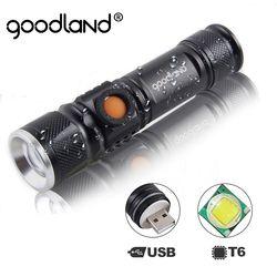 Goodland USB светодиодный фонарик перезаряжаемый светодиодный фонарик Фонарь T6 аккумулятор высокой мощности тактический фонарик для велосипед...