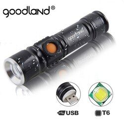 Goodland USB LED Flashlight Hand Rechargeable LED Torch Light Hunting Mini Lanterna Q5 T6 High Power Battery Tactical Flashlight